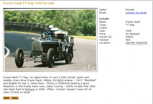 Frazer Nash TT Rep 1935 for sale - PreWarCar
