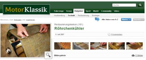 Restaurierungslexikon (181)- Röhrchenkühler