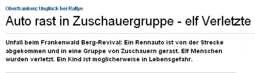 Oberfranken- Unglück bei Rallye - Auto rast in Zuschauergruppe - elf Verletzte - Bayern - sueddeutsc