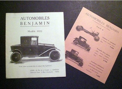 1922 Benjamin -cycle car- Prospekt-catalog