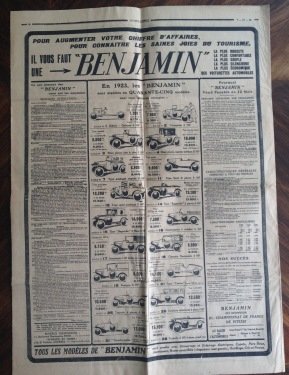 Benjamin Anzeige Juli 1922 Tageszeitung