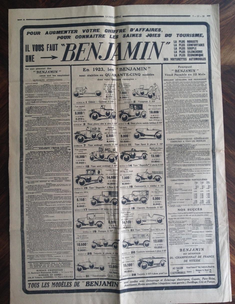 Le Petit Journal 10.07.1922 in dem alle Modelle dargestellt werden.