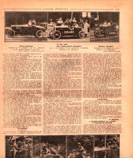 Moto Revue 1923 - Benjamin Bol d´Or 1923