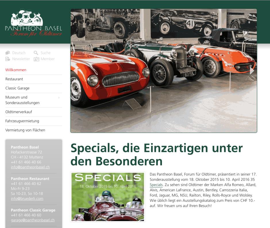 Pantheon Basel - Ausstellung Specials