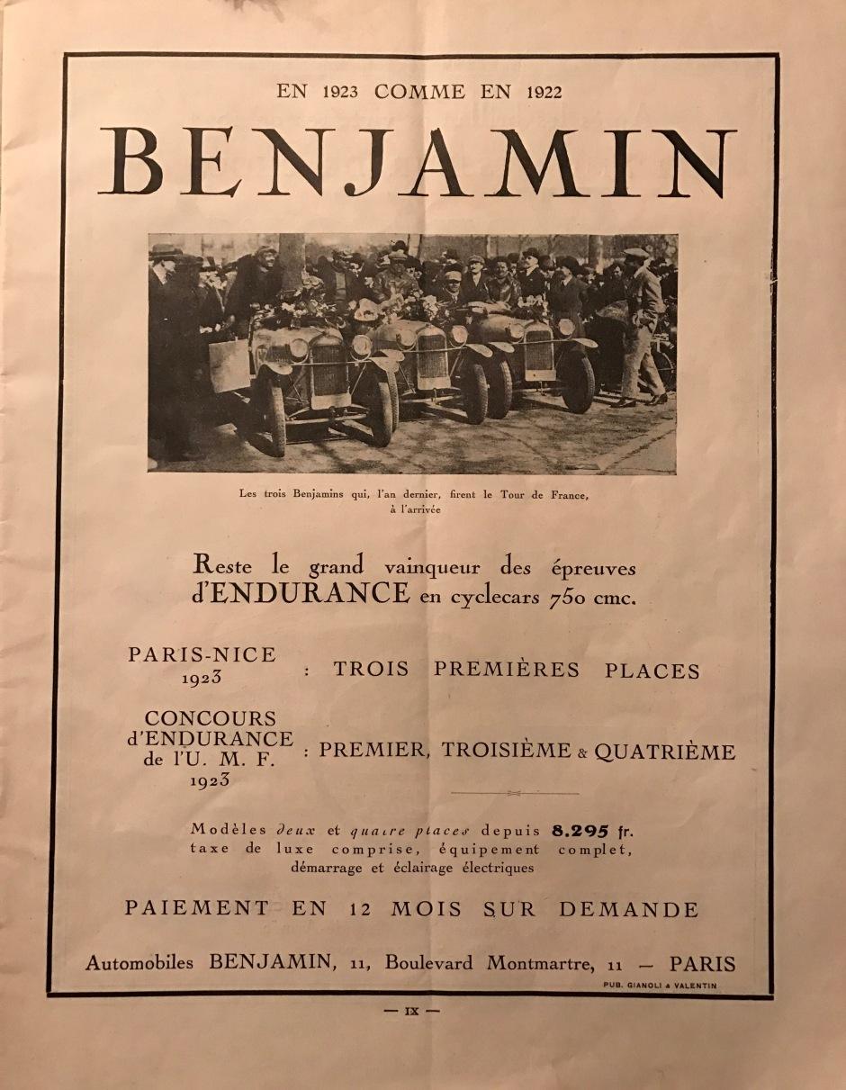 Benjamin Tour de France 1922