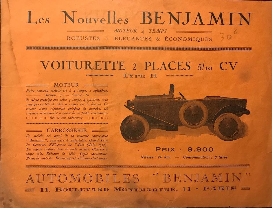 Benjamin Typ H 1925