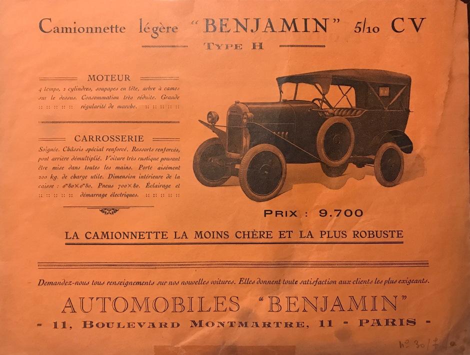 Benjamin Typ H Werbeblatt 1925-1