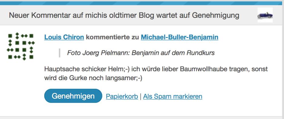 Kommentar auf dem Blog
